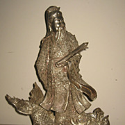 Chinese Silver Warrior Riding a Fish