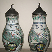 Pair of Superb Chinese Kangxi Famille Verte Porcelain Cisterns