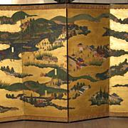 Antique Japanese Four-Panel Landscape Screen