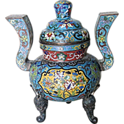Chinese Antique Cloisonné Tripod Censor