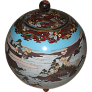 Antique Japanese Cloisonné Round Covered Jar Antique Japanese Cloisonné Round Covered Jar