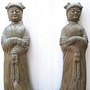 Chinese Carved Tall Stone Female Attendants