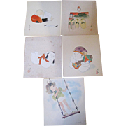 Five Japanese Prints of Children and Gosho Dolls