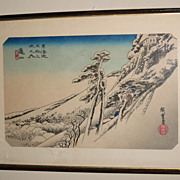 "Old Japanese Woodblock Print of a ""Winter Scene"""