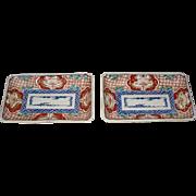Pair of Antique Japanese Porcelain Imari Rectangular Dishes
