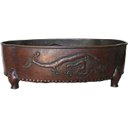 Showa Period Japanese Hand-Hammered Copper Planter, Signed by Artist