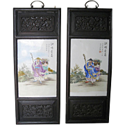 Pair of Chinese Framed Porcelain Wall Plaques