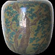 Japanese Vintage Porcelain Studio Ware Jar with Pine Trees