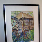 """Watercolor of a """"Thatched Hut & Waterwheel"""""""