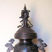 Japanese Elaborately Cast Large Bronze Censor