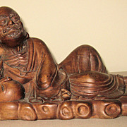 Chinese Wood Carving of a Reclining Lohan