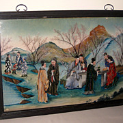 Old Chinese Reverse Painting of Scholars in Landscape Setting