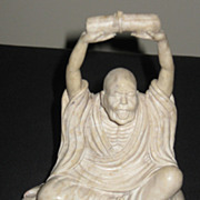 Chinese Carved Soapstone of a Seated Lohan