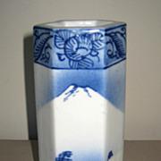 Japanese Blue & White Porcelain Hexagonal Vase