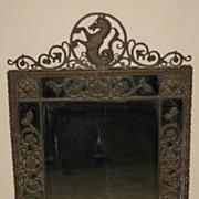 Vintage Bronze Framed Mirror by Oscar B. Bach