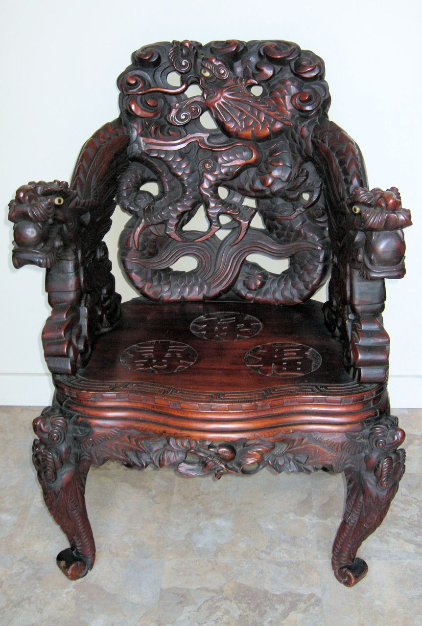 Japanese Meiji Period Art Nouveau Carved Dragon Chair From