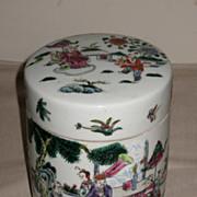 Chinese Porcelain Famille Rose Enameled Covered Jar