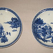 Pair Chinese Blue & White Export Porcelain Small Plates