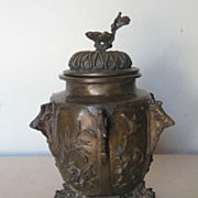 SOLD Japanese Bronze Covered Tripod Jar
