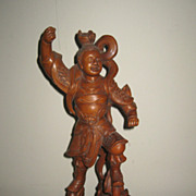 Chinese Carved Wood Warrior Figure