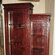 SALE PENDING Japanese Art Nouveau Carved Rosewood Curio Cabinet
