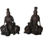 Pair Chinese Carved Wood Buddhist Deities