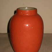 Chinese Stoneware Coral-Orange Glazed Vase