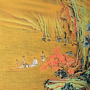 Exquisite Chinese Landscape Painting on Gilt Ground