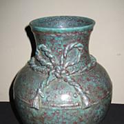 Chinese Porcelain Mottled Turquoise & Rust Glaze Vase