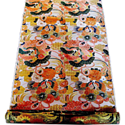 Magnificent Japanese Orange & Gilt Obi Fabric with Cranes