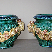 Pair of Vintage Majolica Ceramic Turquoise Planters