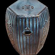 Chinese Ceramic Blue Glazed Garden Seat