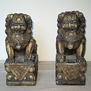 Pair of Chinese Carved Stone Fu Lions