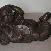 Chinese Carved Stone Recumbent Budai
