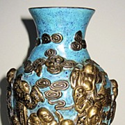 19th Century Chinese Gilt Lohan Porcelain Vase