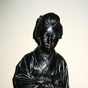 SALE PENDING Late Meji Japanese Bronze Seated Geisha