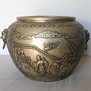 Chinese Large Bronze Jar with Animal Mask Handles