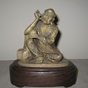 Chinese Carved Sealstone Seated Lohan