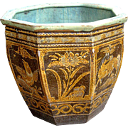Old Chinese Brown Glazed Pottery Dragon Egg Jar Pi Tang Kong