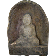Large Chinese Carved Stone Buddha in Niche