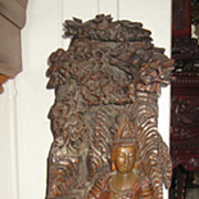 Chinese Wood Carving of Guanyin in Landscape Setting