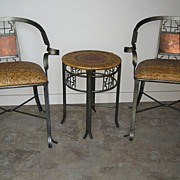 Mid 20th C. Pair of Metal & Cane Chairs and Table