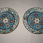 Pair of Japanese Cloisonné Plates