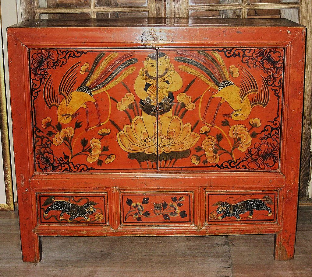 Antique Chinese Painted Red Small Cabinet From