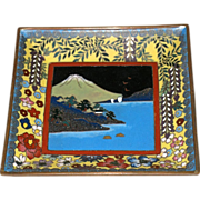 Beautiful Small Japanese Cloisonné Square Plate