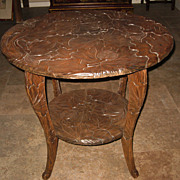 Round Carved Wood Lotus Table