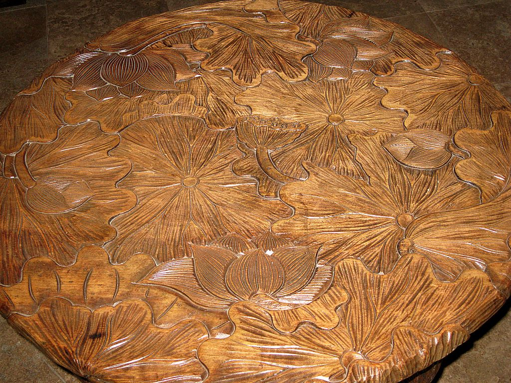 Lotus Wood: Round Carved Wood Lotus Table From Dynastycollections On