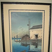Japanese Early 20th Century Woodblock Print of a Warehouse