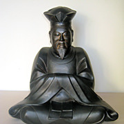 Bronze Figure of a Seated Buddhist Priest from the Meiji Period (1868-1912)