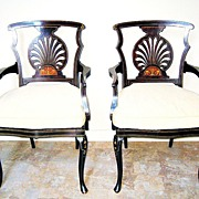 Pair of Edwardian Inlaid Mahogany Armchairs